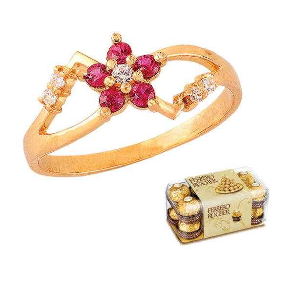 22kt Gold Ring with Love Red Ruby