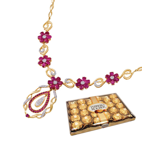 18kt Gold Necklace with Rubies & Diamonds - Love Ferrero Rocher