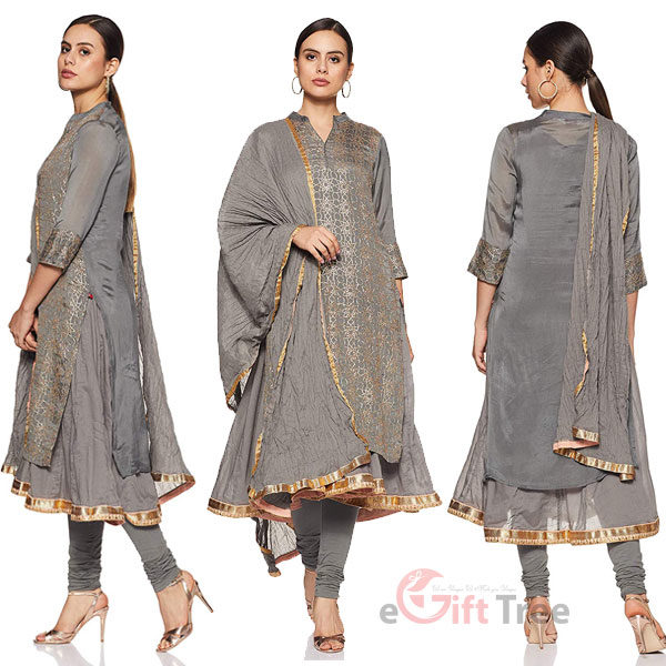 A Line Salwar Suit Set Gray