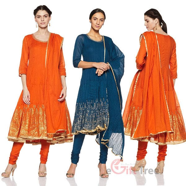 Anarkali Salwar Suit Set  orange