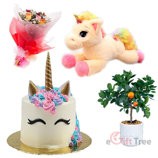 Birthday Cake with Colorful Tail Unicorn Dolls