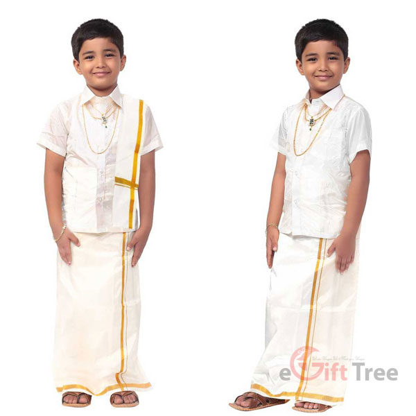 Boys Festive & Party Dhoti, Shawl and Shirt Set  Beige