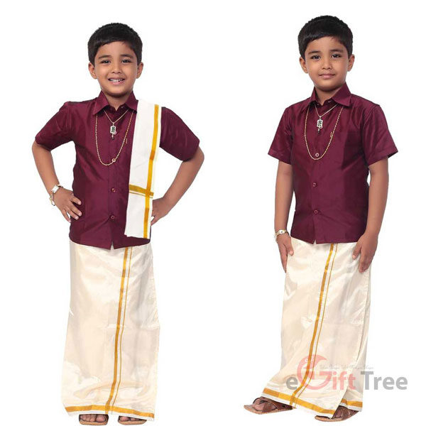 Boys Festive & Party Dhoti, Shawl and Shirt Set Maroon