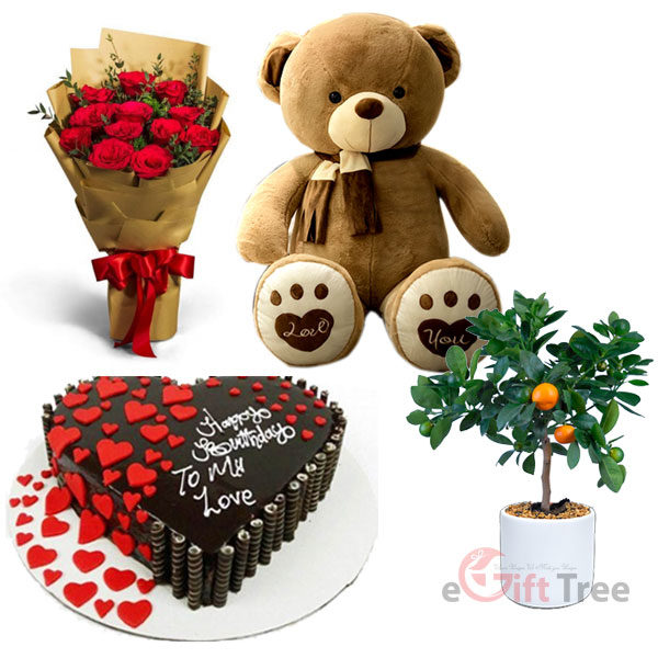 Heart Shape Truffle Waffers Cake with Scarf Bear Skin Doll