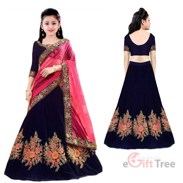 Lehenga Choli Ethnic Wear Embroidered Lehenga, Choli and Dupatta Set Blue