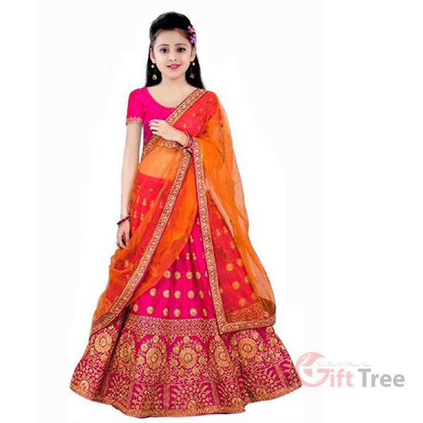 Lehenga Choli Ethnic Wear Embroidered Lehenga, Choli and Dupatta Set Pink