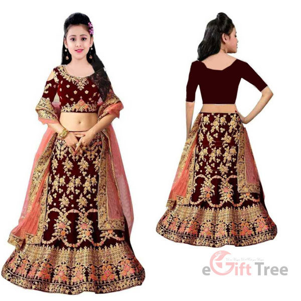 Girls Lehenga Choli Ethnic Wear Embroidered Lehenga, Choli and Dupatta Set Maroon
