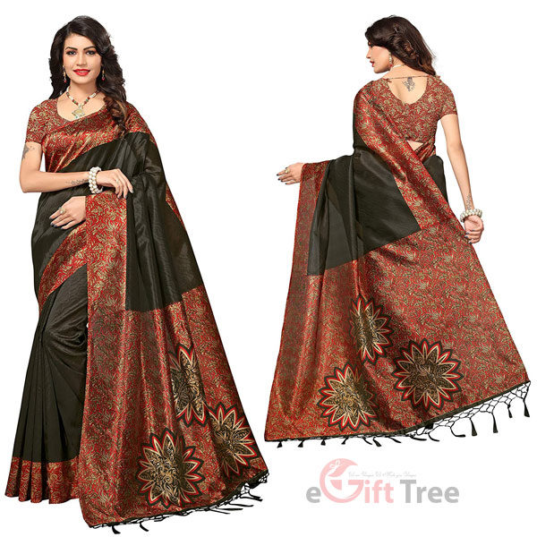 Silk Saree with Blouse Piece Black