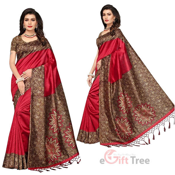 Silk Saree with Blouse Piece Maroon