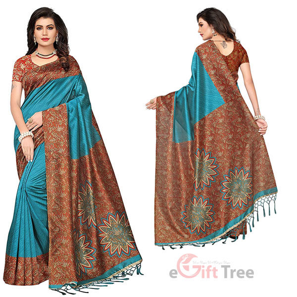 Silk Saree with Blouse Piece Sky Blue