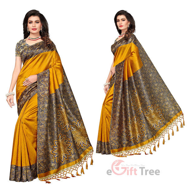 Silk Saree with Blouse Piece Yellow