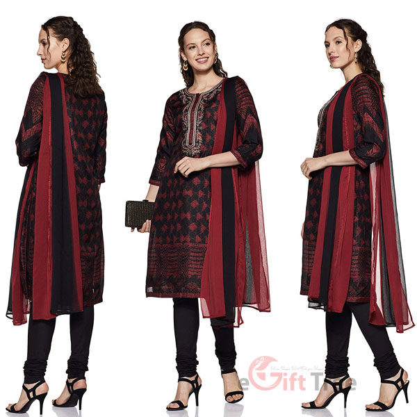 Straight Salwar Suit Set Black & Maroon