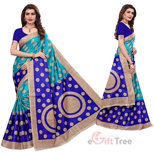 Art silk kalamkari and bhagalpuri style saree with blouse piece and soft feel (kora) Blue