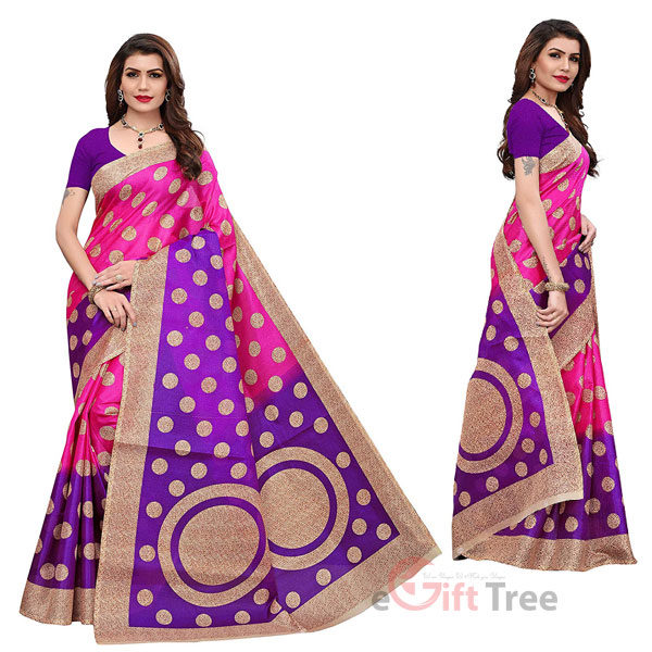 Art silk kalamkari and bhagalpuri style saree with blouse piece and soft feel (kora) Pink