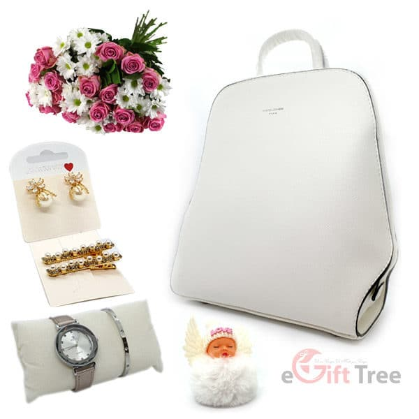 Pearl effect Backpack with Watch & Bracelet