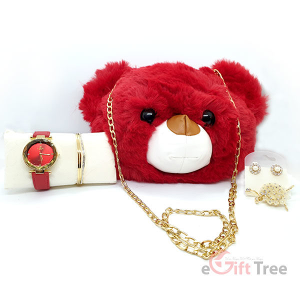 Red Daddy Plush Bag with Watch set 5 in 1