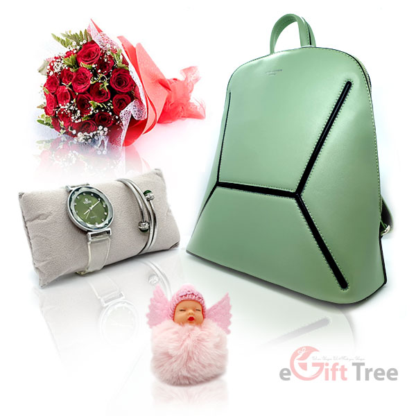 Surf Colour Backpack with Watch | Bracelet & Cute Sleeping Baby Angel pink Soft Plush Doll Keychain