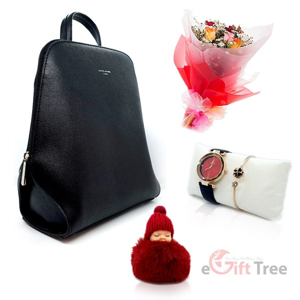 Black Colour Backpack with Watch | Bracelet & Cute Sleeping Baby Angel pink Soft Plush Doll Keychain