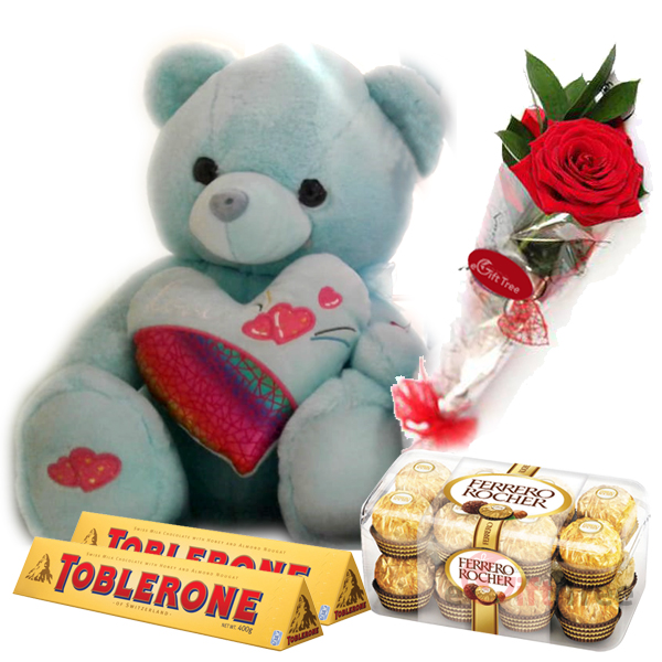 Best Surprice Gift to yours loved one Teddy Bear Soft, 1 Ferrero Rocher Box, 2 Toblerone Chocolate, Single Roase